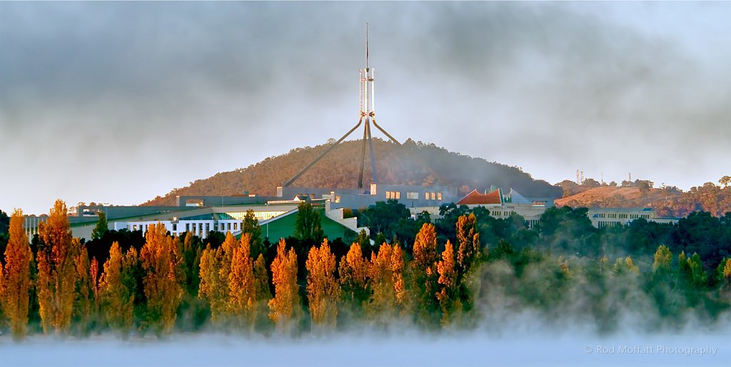 Parliament House, Canberra, in late autumn