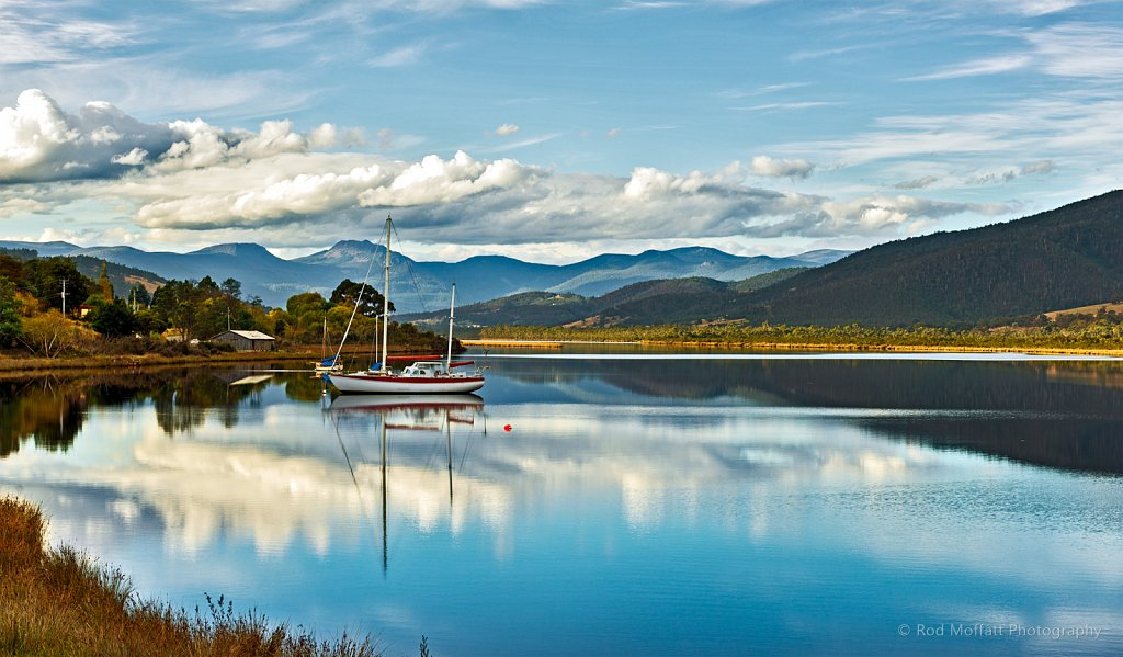 Clouds reflected on Huon River
